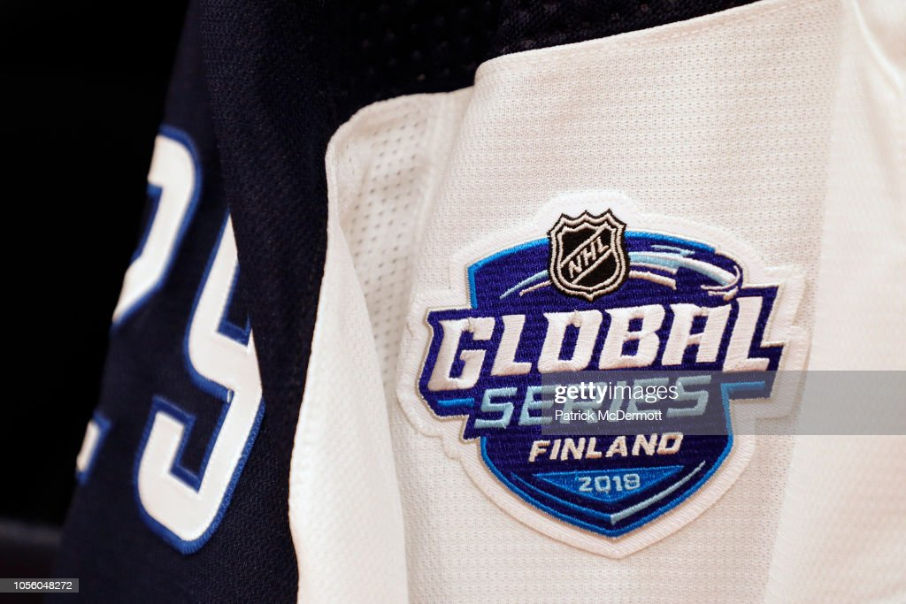 the latest c6b5f 8bb25 A detail view of the jersey of Patrik Laine of the Winnipeg ...