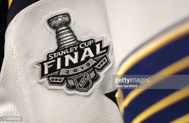 A detail view of the logo on a jersey in the St Louis Blues locker room is seen prior to Game Two of the 2019 NHL Stanley Cup Final between the St...