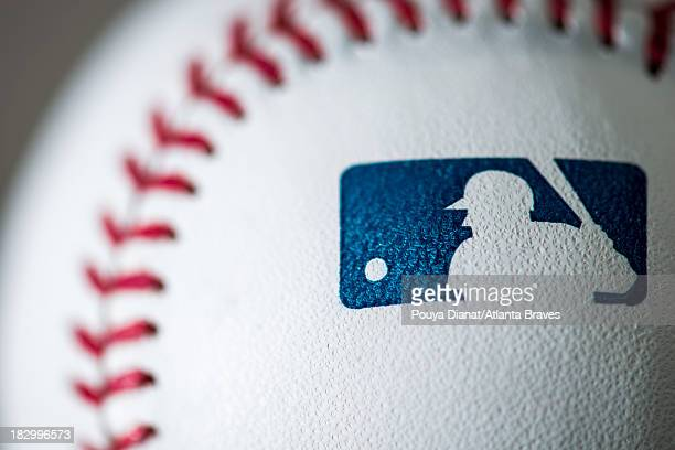 A detail view of the Major League Baseball logo on a baseball before the game against the Cleveland Indians at Turner Field on August 27 2013 The...
