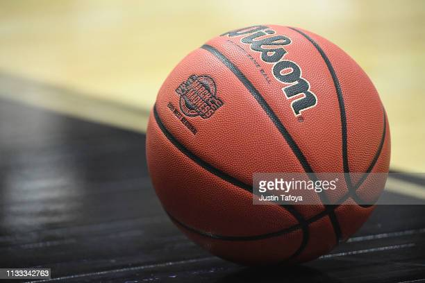 A detail view of the March Madness logo on a Wilson basketball during the game between the Gonzaga Bulldogs and the Florida State Seminoles in the...