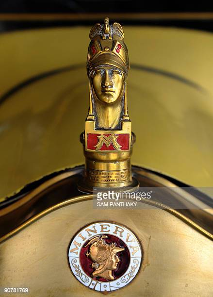 A detail view of the mascot on a Belgium 'Minerva' 1906 model car made in Belgium and once owned by Sheikh Al Sabah of Kuwait at 'Auto World' car...