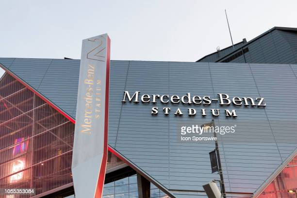 Detail view of the MercedesBenz Stadium logo during an NFL regular season game against the New York Giants and the Atlanta Flacons at MercedesBenz...