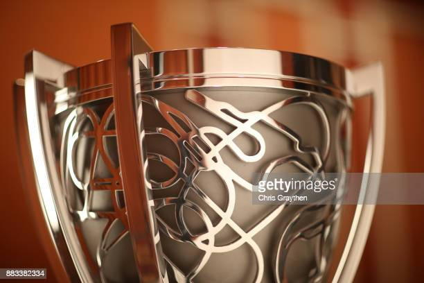 A detail view of the Monster Energy NASCAR Cup Series Trophy prior to the Monster Energy NASCAR Cup Series awards at Wynn Las Vegas on November 30...