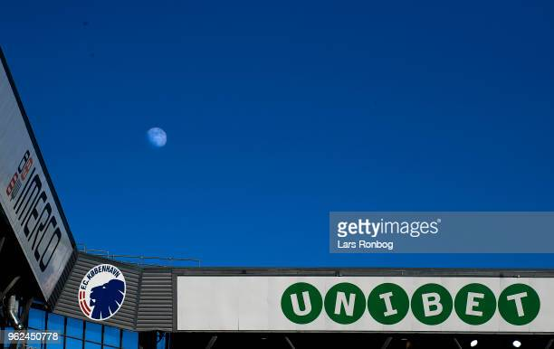 A detail view of the moon above the Unibet and Imerco stand during the Danish Alka Superliga Europa League Playoff match between FC Copenhagen and...
