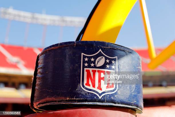 A detail view of the NATIONAL FOOTBALL LEAGUE logo on the goal post stanchion before the AFC Championship Game between the Kansas City Chiefs and the...