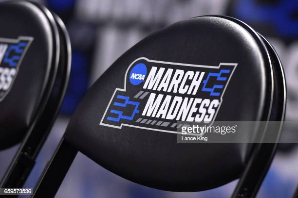 A detail view of the NCAA March Madness logo during the second round of the 2017 NCAA Men's Basketball Tournament at Bon Secours Wellness Arena on...