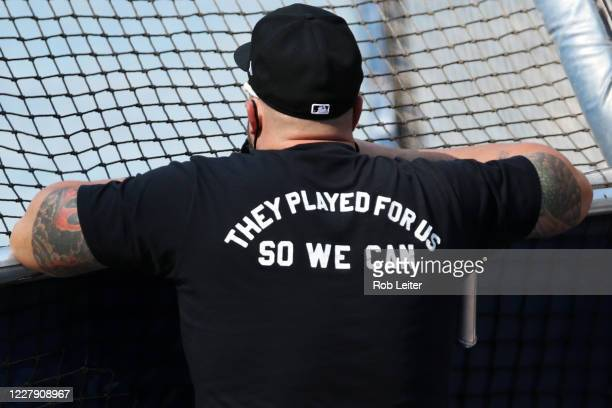Detail view of the Negro Leagues t-shirt before the game between the Arizona Diamondbacks and the San Diego Padres at Petco Park on Friday, July 24,...