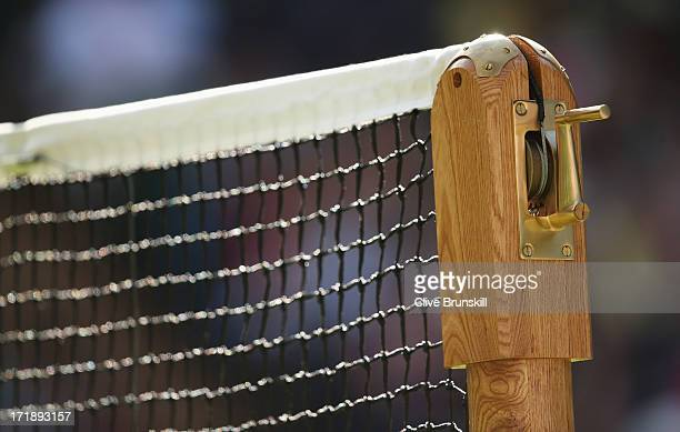 A detail view of the net on Centre Court during day six of the Wimbledon Lawn Tennis Championships at the All England Lawn Tennis and Croquet Club on...