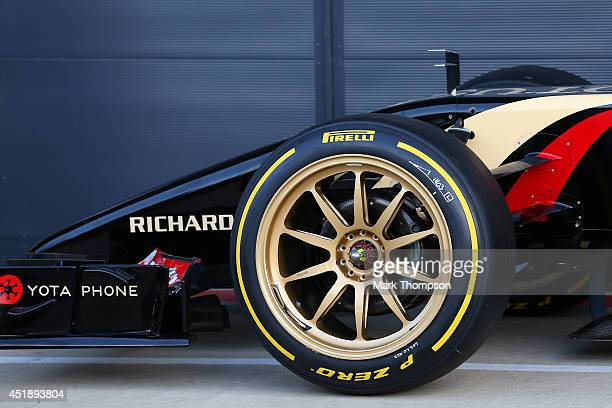 A detail view of the new 18inch Pirelli wheels fitted on a Lotus before demonstration runs during day two of testing at Silverstone Circuit on July 9...