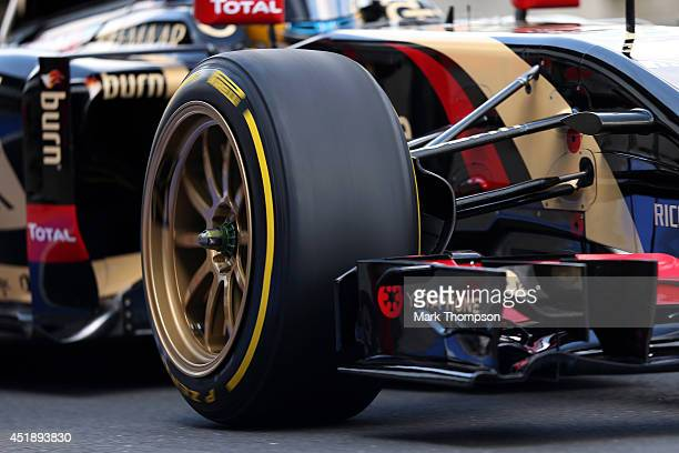 A detail view of the new 18inch Pirelli wheels fitted on a Lotus during a demonstration run on day two of testing at Silverstone Circuit on July 9...