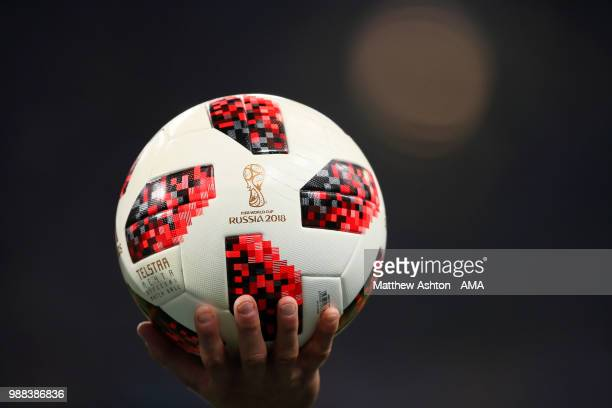 Detail View of the new adidas telstar match ball in use for the later stages of the tournament during the 2018 FIFA World Cup Russia Round of 16...