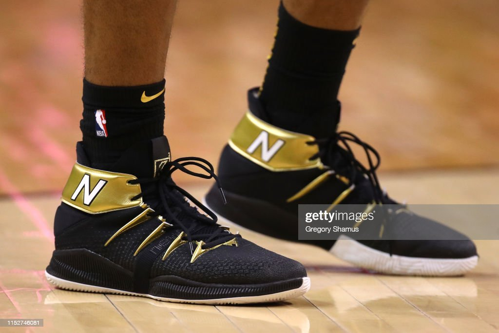 A detail view of the New Balance sneakers worn by Kawhi
