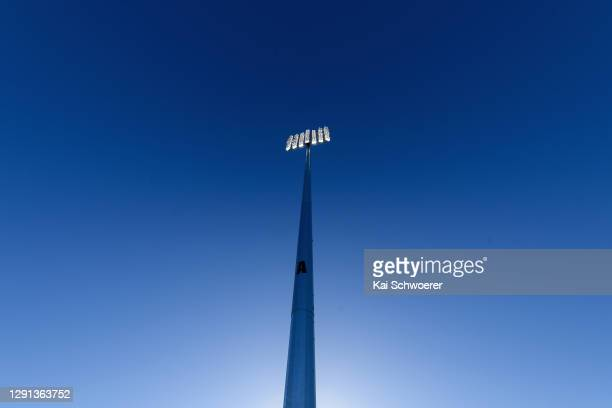 Detail view of the new floodlights at Hagley Oval during the ICC Women's Cricket World Cup 2022 match schedule announcement at Hagley Oval on...