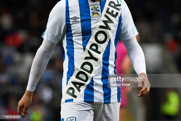 Detail view of the new Huddersfield Town jersey during the Pre Season friendly between Rochdale and Huddersfield Town at Crown Oil Arena on July 17,...