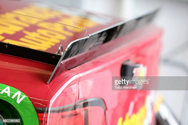 A detail view of the new shortened aerodynamic spoiler seen on the Advance Auto Parts/Quaker State Chevrolet driven by Alex Bowman in the garage area...