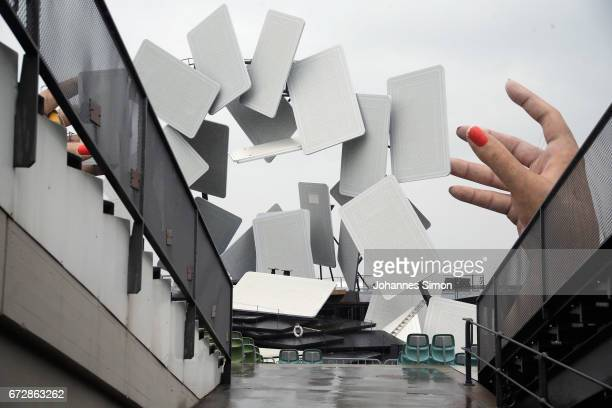 Detail view of the new stage for the Bregenz Festival ahead of the roofing ceremony on April 25, 2017 in Bregenz, Austria. Every two years the...