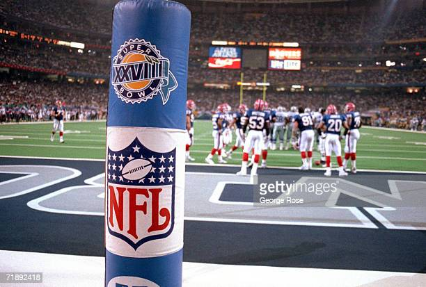 Detail view of the NFL and Super Bowl XXVIII logo placed on the goal post during the championship game between the Dallas Cowboys and the Buffalo...