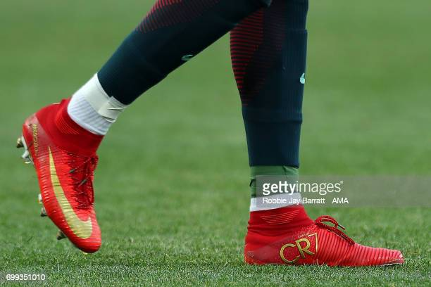 Detail View of the Nike boots of Cristiano Ronaldo of Portugal during the FIFA Confederations Cup Russia 2017 Group A match between Russia and...
