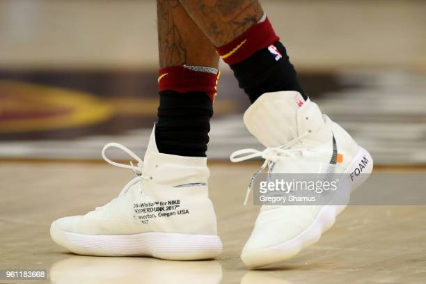 A detail view of the Nike Hyperdunk OffWhite sneakers worn by JR Smith of the Cleveland Cavaliers in the game against the Boston Celtics during Game...