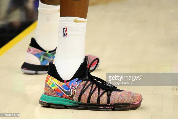 A detail view of the Nike KD 10 sneakers worn by Kevin Durant of the Golden State Warriors in the first quarter against the Cleveland Cavaliers...