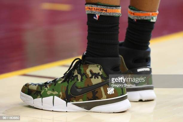 A detail view of the Nike Kobe 1 Protro sneakers worn by Marcus Morris of the Boston Celtics in the game against the Cleveland Cavaliers during Game...