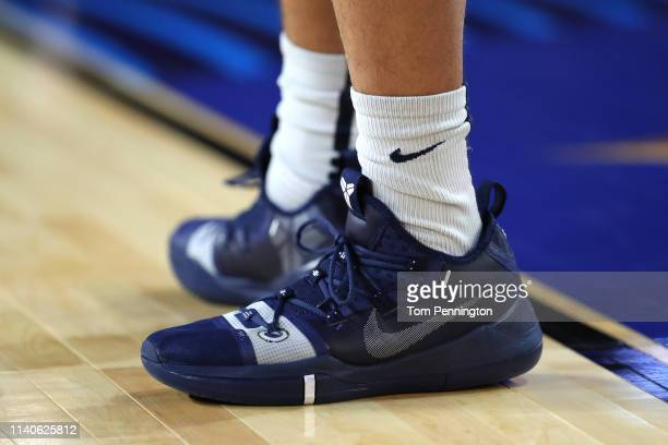 A detail view of the Nike Kobe AD sneakers worn by the Auburn Tigers during practice prior to the 2019 NCAA men's Final Four at US Bank Stadium on...