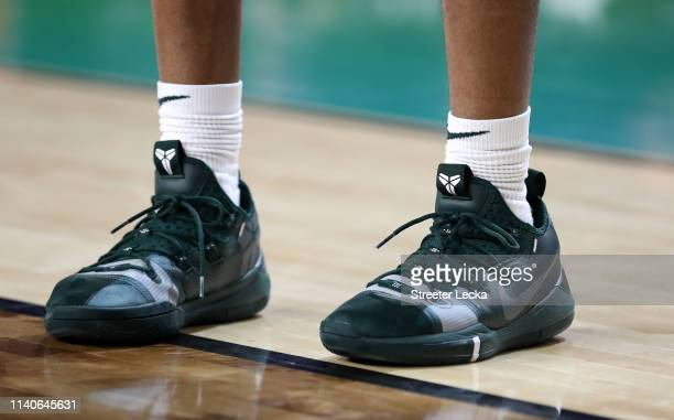 A detail view of the Nike Kobe AD sneakers worn by the Michigan State Spartans prior to the 2019 NCAA men's Final Four at US Bank Stadium on April 5...