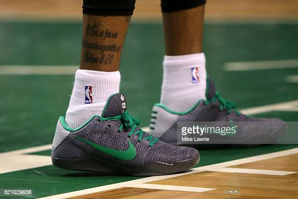 a2d99c4a0037 A detail view of the Nike Kobe XI sneakers worn by Isaiah Thomas of the  Boston