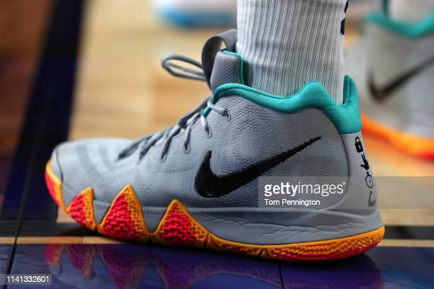 A detail view of the Nike Kyrie 4 sneakers worn by the Virginia Cavaliers prior to the 2019 NCAA men's Final Four National Championship game against...