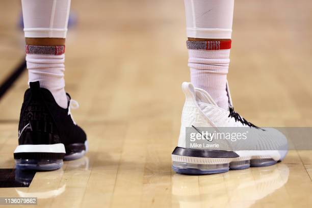 A detail view of the Nike LeBron 16 basketball shoes worn by Obadiah Toppin of the Dayton Flyers in the second half of the game against the Saint...
