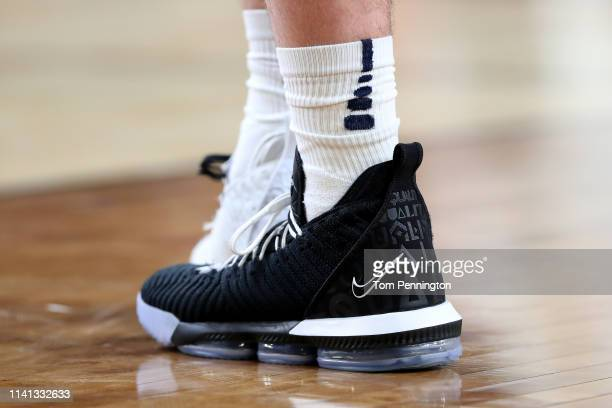 A detail view of the Nike LeBron 16 BHM Equality sneakers worn by the Virginia Cavaliers prior to the 2019 NCAA men's Final Four National...