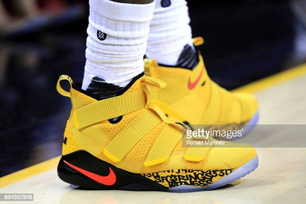 A detail view of the Nike Lebron Soldier XI sneakers worn by LeBron James of the Cleveland Cavaliers in the second half against the Golden State...