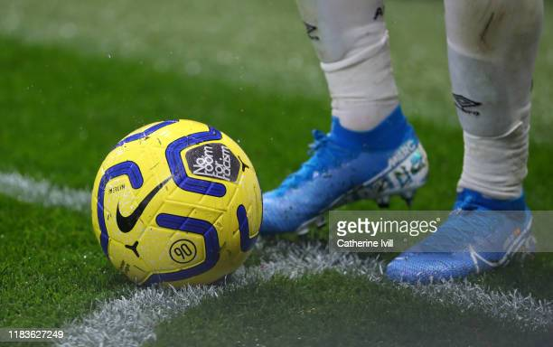 Detail view of the Nike Merlin Winter Ball with No room for Racism branding during the Premier League match between Watford FC and AFC Bournemouth at...