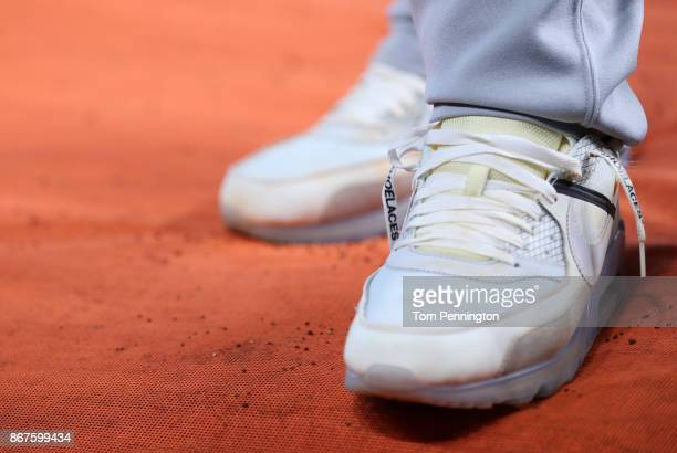 A detail view of the Nike OffWhite Abloh Air Max 90 sneakers worn by Yasiel Puig of the Los Angeles Dodgers before game four of the 2017 World Series...