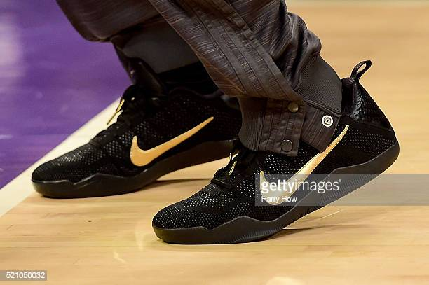 Detail view of the NIKE shoes worn by Kobe Bryant of the Los Angeles Lakers before taking on the Utah Jazz at Staples Center on April 13, 2016 in Los...