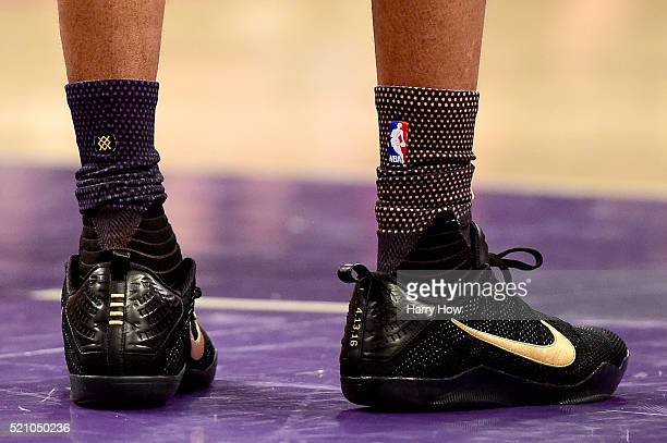 A detail view of the NIKE shoes worn by Kobe Bryant of the Los Angeles Lakers in the first half against the Utah Jazz at Staples Center on April 13...