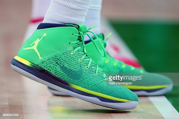 A detail view of the Nike shoes worn by Nene Hilario of Brazil during the Men's Basketball Preliminary Round Group B Brazil vs Croatia on Day 6 of...