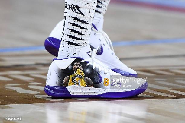 A detail view of the Nike sneakers featuring a tribute to Kobe and Gianna Bryant worn by Quavo of Team Stephen A during the 2020 NBA AllStar...