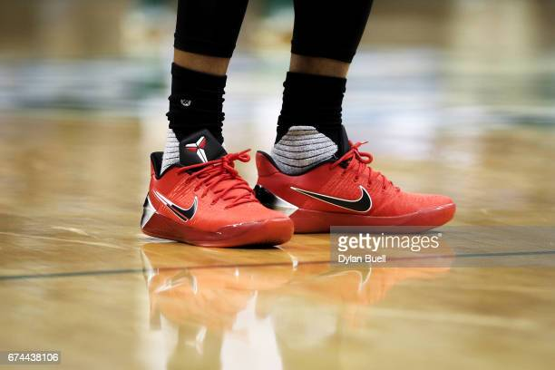 A detail view of the Nike sneakers worn by DeMar DeRozan of the Toronto Raptors in Game Six of the Eastern Conference Quarterfinals against the...