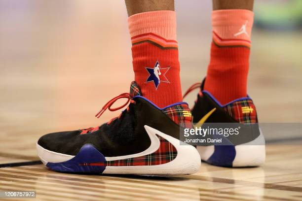A detail view of the Nike sneakers worn by Giannis Antetokounmpo of Team Giannis during the 69th NBA AllStar Game at the United Center on February 16...