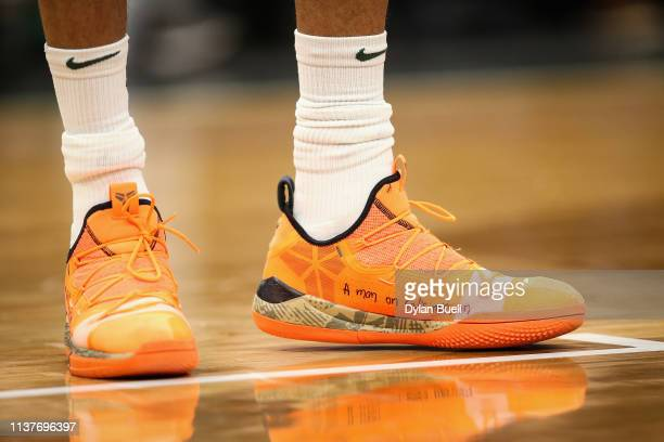 A detail view of the Nike sneakers worn by Giannis Antetokounmpo of the Milwaukee Bucks in the third quarter against the Miami Heat at the Fiserv...