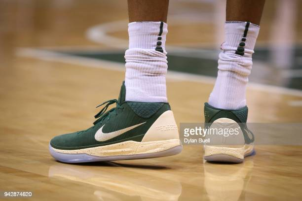 A detail view of the Nike sneakers worn by Giannis Antetokounmpo of the Milwaukee Bucks in the first quarter against the Brooklyn Nets at the Bradley...