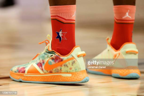 A detail view of the Nike sneakers worn by Jimmy Butler of Team Giannis during the 69th NBA AllStar Game at the United Center on February 16 2020 in...