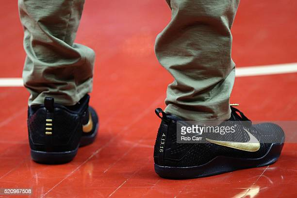 A detail view of the Nike sneakers worn by John Wall of the Washington Wizards before the start of the Wizards and Atlanta Hawks game at Verizon...