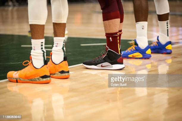 A detail view of the Nike sneakers worn by Kevin Love of the Cleveland Cavaliers in the first quarter against the Milwaukee Bucks at the Fiserv Forum...