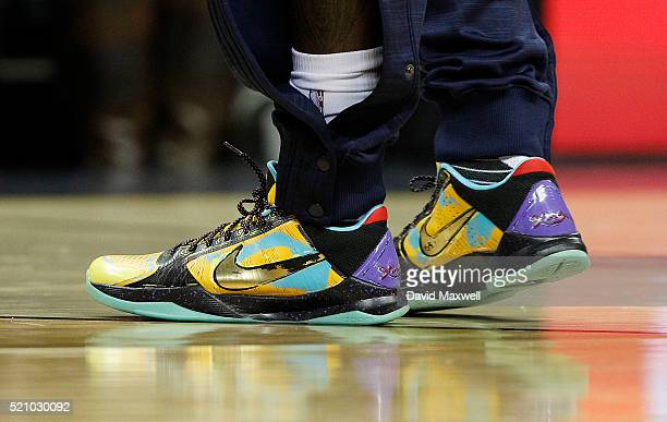A detail view of the Nike sneakers worn by Kyrie Irving of the Cleveland Cavaliers during the game against the Detroit Pistons at Quicken Loans Arena...