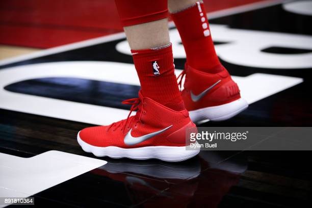 A detail view of the Nike sneakers worn by Lauri Markkanen of the Chicago Bulls in the second quarter against the New York Knicks at the United...