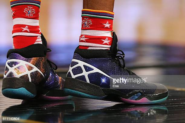 A detail view of the Nike sneakers worn by Russell Westbrook of the Oklahoma City Thunder and the Western Conference in the first half against the...