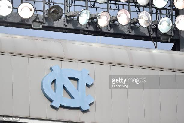 A detail view of the North Carolina logo and lights during the game between the Western Carolina Catamounts and the North Carolina Tar Heels at Kenan...
