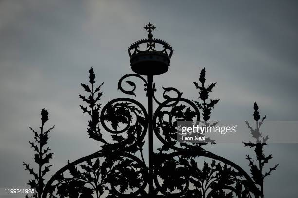 A detail view of the Norwich Gates on the Sandringham Estate as Prince Harry Duke of Sussex meets with Queen Elizabeth II Prince Charles Prince of...